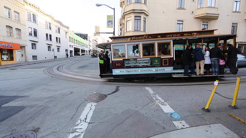 2 angles - san Francisco cable car Stock Video Footage
