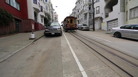 2 angles - san Francisco cable car Footage