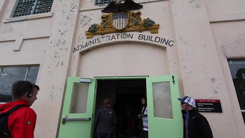 Alcatraz - admistration building Stock Video Footage
