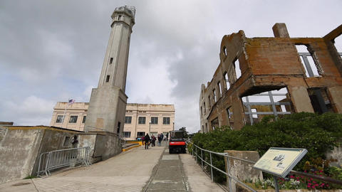 Alcatraz - admistration building Stock Video Footage