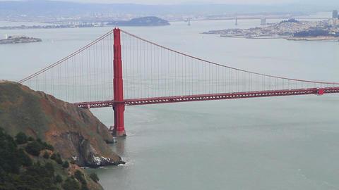 low high aerial tilt - golden gate bridge from nor Stock Video Footage