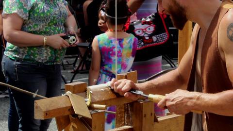 Pole lathe turning demonstration Footage