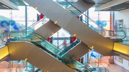 Hyperlapse video of escalator in a shopping mall Stock Video Footage