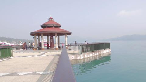 beautiful sun moon lake with pagoda from the ita t Footage