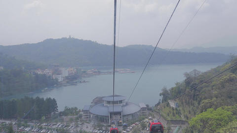 cable car with view of sun moon lake ita thao Footage