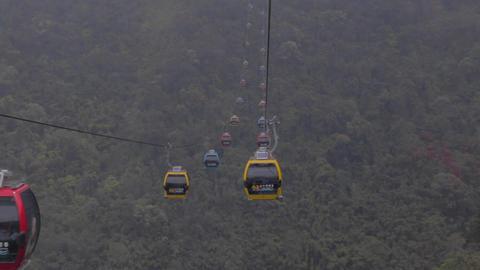 cable cars at sun moon lake going both ways Footage