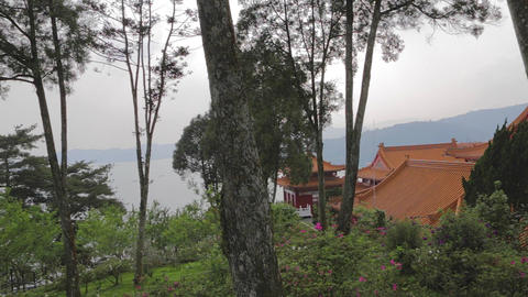 pan of sun moon lake from wen wu temple Stock Video Footage