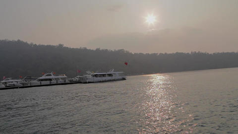 view of the boat during golden hour at ita thao pi Footage
