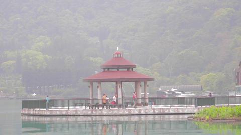 wide shot of the pagoda at sun moon lake Footage