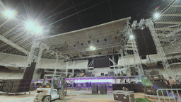 4K Music Concert Stage Construction Timelapse 2 stock footage