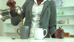 Woman making coffee in the morning Footage