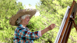 Old woman painting in the park Footage