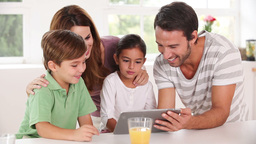 Family using a tablet pc together Stock Video Footage