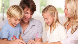 Family drawing together Footage