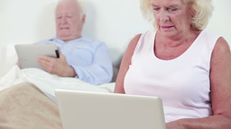 Old couple using technology Footage