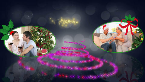 Christmas couples animation Stock Video Footage