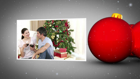 Christmas balls and familys animation Stock Video Footage