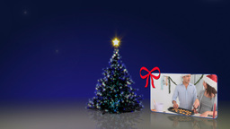Christmas tree animation with people Stock Video Footage