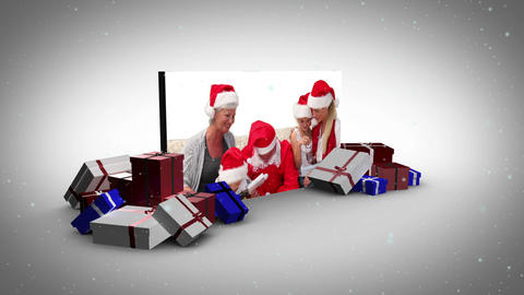 Big screen christmas and familys animation Stock Video Footage