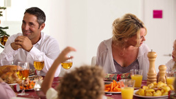 Family chatting around the dinner table Stock Video Footage