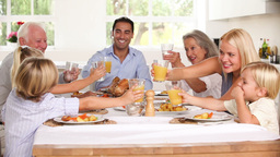 Family raising their glasses at family dinner Stock Video Footage
