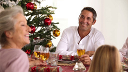 Happy family celebrating christmas Stock Video Footage