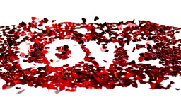 Confetti spelling out love blowing away Stock Video Footage