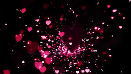 Pink heart confetti and sparks flying against hear Footage