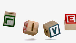 Wooden blocks spelling out love falling Footage