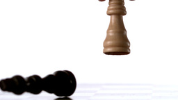 White king knocking over black king Stock Video Footage