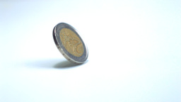 Two euro coin spinning around Stock Video Footage