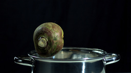 Turnip falling in pot Footage