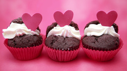 Three valentines cupcakes Footage