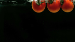 Vine tomatoes falling into water Stock Video Footage