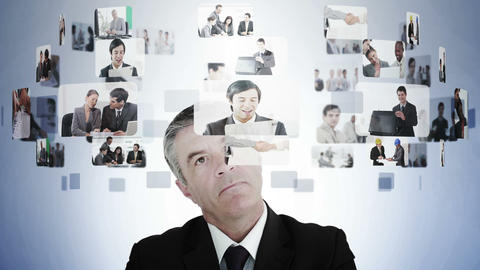 Businessman pondering various business situations Animation