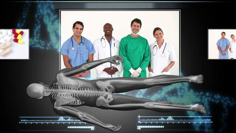 Montage of medical workers with revolving human fi Animation