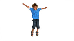Boy jumping on a white background Footage