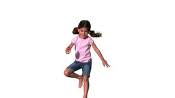 Cute little girl jumping on white background Stock Video Footage