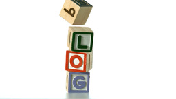 Blocks spelling Blog dropping down Footage