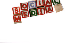 Blocks spelling social media dropping down Footage