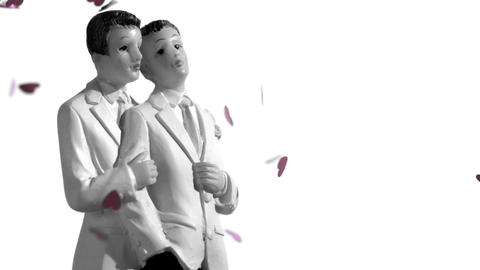 Confetti falling on gay groom cake toppers in blac Stock Video Footage