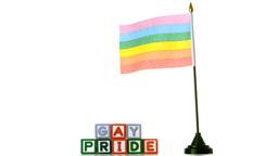 Rainbow flag blowing in the wind beside gay pride  Footage