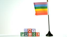 Rainbow flag blowing in the breeze beside gay prid Footage