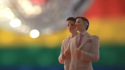Gay groom cake toppers with disco ball Footage