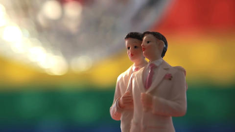 Gay groom cake toppers with disco ball Stock Video Footage