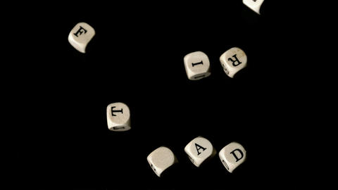 Fair trade dice falling together Stock Video Footage