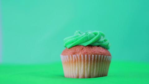 St patricks day cupcake spinning around Footage