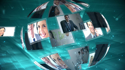 Moving sphere of call centre and telecoms clips Animation