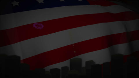 Independence day animation with city skyline Stock Video Footage