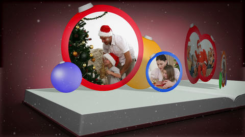Photo album montage of christmas time Stock Video Footage